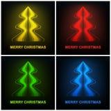Vier farbiges abstraktes modernes Design des Weihnachtsbaums Lizenzfreie Stockfotos