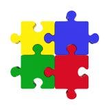 Vier farbiges Puzzlespiel Lizenzfreie Stockfotos