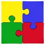 Vier farbiges Puzzlespiel Stockfotos