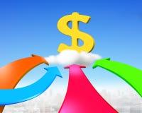 Vier Farbpfeile gehen in Richtung zum goldenen Dollarzeichen Lizenzfreies Stockbild