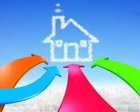 Vier Farbpfeile gehen in Richtung zur Hausformwolke Stockfoto