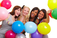 Vier feiernde Frauen Stockfotografie