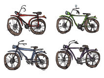 Vier fietsen, een primitieve stijl royalty-vrije illustratie