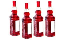 Vier Flaschen Rotwein Stockfoto
