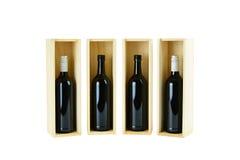 Vier flessen wijn Stock Afbeelding