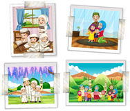 Vier fotokaders van moslimfamilie Stock Afbeeldingen