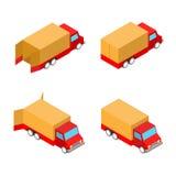 Vier Frachtlieferungsautos auf Weiß Stockfotos