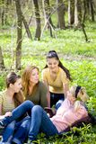 vier Frauen, die im Wald sich entspannen Stockfotos