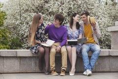 Vier Freunde im Park mit Büchern Lizenzfreie Stockfotos