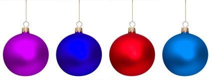 Vier geïsoleerdec Kerstmisballen Stock Foto's