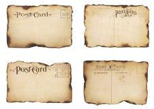 Vier gebrannt, Weinlese-Postkarten Stockbilder