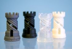 Vier Gegenstände photopolymer gedruckt auf einem Drucker 3d Lizenzfreie Stockbilder