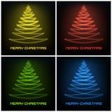 Vier gekleurd abstract Kerstmisboom het gloeien lijnenontwerp Stock Afbeeldingen