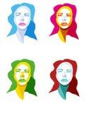 Vier gekleurd meisje Stock Fotografie