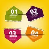 Vier gekleurde document ruit met plaats voor uw tekst Stock Afbeeldingen