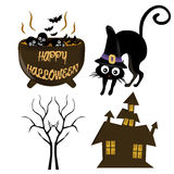 Vier gekleurde pictogrammen voor Halloween Stock Foto's