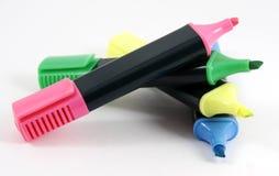 Vier gekleurde zacht-uiteindepen Stock Foto