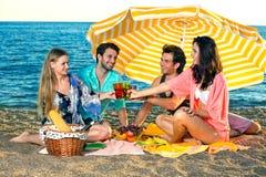 Vier gelukkige vrienden hebben een picknick op het strand Royalty-vrije Stock Afbeelding