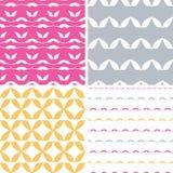 Vier geometrische Musterhintergründe der bstract Blattformen Lizenzfreie Stockfotos