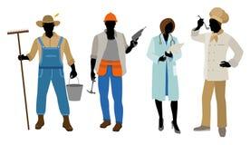 Vier geplaatste beroepen Stock Foto