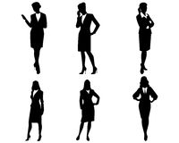 Vier Geschäftsfrauschattenbilder lizenzfreie abbildung