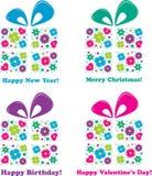 Vier Geschenke - vier Feiertage, Abbildung Stockfotos