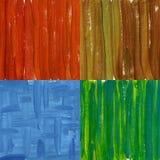 Vier geschilderde samenvattingen die op canvas worden geschilderd Royalty-vrije Stock Afbeelding