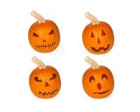 Vier Gesneden Pompoenen van Halloween hefboom-o-Lantaarn Stock Foto's