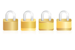 Vier geïsoleerde gouden sloten op witte achtergrond Stock Fotografie