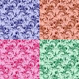 Vier gestileerde wervelings bloemenpatronen Stock Afbeelding
