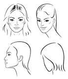 Vier gezichten van het vrouwenoverzicht Stock Afbeeldingen