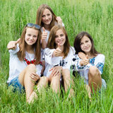 Vier glückliche junge Freundinnen, die Daumen oben im grünen Gras lächeln u. zeigen Lizenzfreie Stockfotos