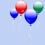 Vier glanzende ballons Stock Afbeelding