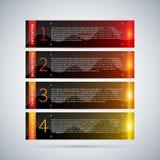 Vier glanzende banners met gloeiende strepen en aantallen van één tot vier Nuttig voor leerprogramma's of reclame Royalty-vrije Stock Afbeeldingen