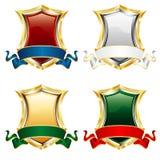 Vier glanzende schilden Royalty-vrije Stock Afbeeldingen