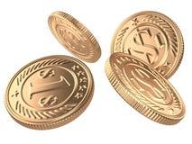 Vier goldene Münzen geworfen in die Luft Lizenzfreies Stockfoto