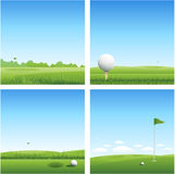 Vier Golfhintergründe Stockfoto