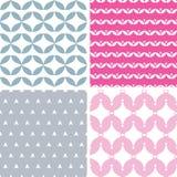 Vier golvende roze en grijze abstracte geometrisch Stock Foto