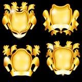 Vier gouden schilden Royalty-vrije Stock Fotografie