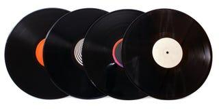 Vier grammofoon vinylverslagen Stock Afbeeldingen