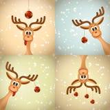 Vier grappig Kerstmisrendier Stock Afbeelding