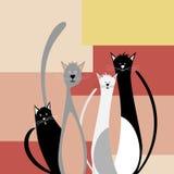 Vier grappige katten royalty-vrije stock fotografie