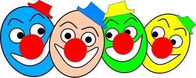 Vier grappige kleurrijke clowns met kappen lachen Stock Afbeeldingen