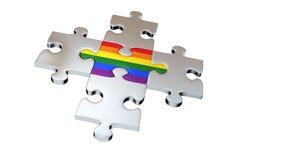 Vier Grey Puzzle Pieces omringen Één Regenboogstuk royalty-vrije illustratie