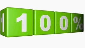 Vier groene kubussen met schrijven 100%-beweging op witte achtergrond - 3D teruggevende video royalty-vrije illustratie