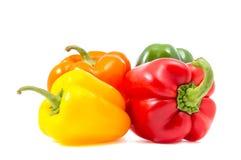 Vier groene paprika's Stock Fotografie