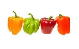 Vier groene paprika's stock foto's