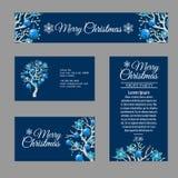 Vier groetkaart met modieuze Kerstboom Stock Afbeeldingen