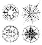 Vier Grunge Kompassse Stockfoto