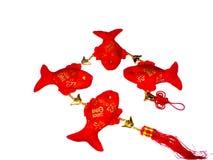 Vier Gunstige Vissen (Lapwerk, marionet of langs gemaakt Stock Foto